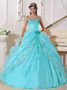Aqua Blue Sweetheart Organza Drapped Quinceanera Dress with Beading and Flowers