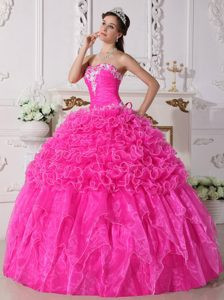 Hot Pink Sweetheart Organza Quinceanera Dress with Appliques and Ruffles in Fashion