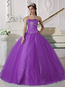 Modest Purple Sweetheart Floor-length Tulle Quinceanera Dress with Beading for Less