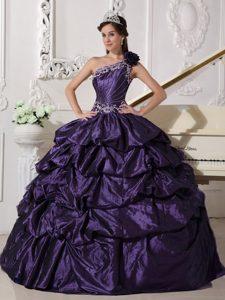 One-shoulder Dark Purple Appliqued Taffeta Quinceanera Dress with Pick-ups on Sale