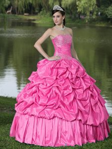 Hot Pink Strapless Ball Gown Taffeta Quinceanera Dresses with Pick-ups and Beading