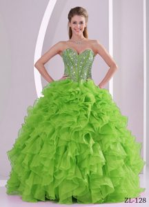 Sparkly Beaded Sweetheart Sweet 16 Gowns in Organza with Ruffled Layers