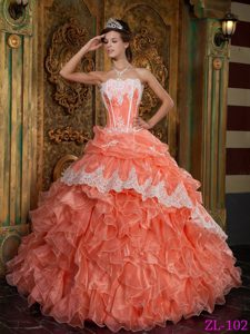 Strapless Organza Quinceanera Dress in Orange Red with Ruffled Layers