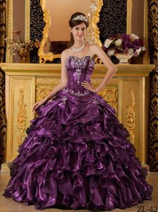 Dark Purple Sweetheart Ruffled Dresses for Quince in Organza on Sale