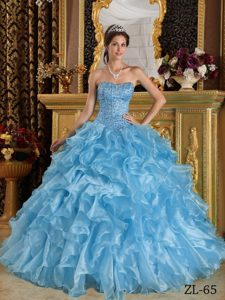 Blue Sweetheart Beaded Organza Quinceanera Dresses with Ruffled Layers