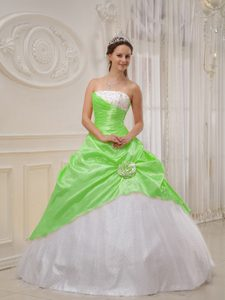 Strapless Light Green and White Taffeta Quinceanera Dress with Beading and Flower