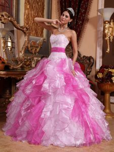 Two-Toned Pink Sweetheart Ball Gown Beaded Ruffled Organza Quinceanera Dresses