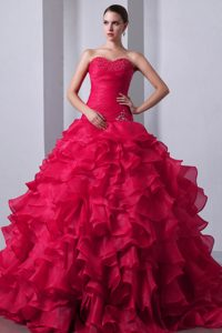 New Coral Red Sweetheart Ball Gown Ruched Beaded Quinceanera Dress with Ruffles