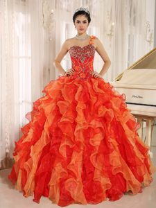 Custom Made One-shoulder Ball Gown Quinceanera Dress with Ruffles and Beading