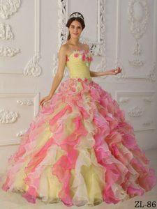 Impressive Ruffled Organza Floor-length Quinceanera Dress in Multi-Color