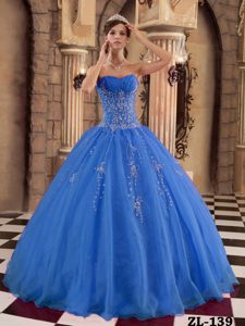 Ruched and Beaded Blue Organza Memorable Sweet Sixteen Dress for Fall
