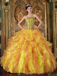Multi-Color Strapless Ruffled Quinceanera Gowns with Beading in Organza