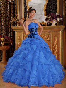 Blue Sweetheart Organza Quinceanera Dresses with Ruffles and Appliques