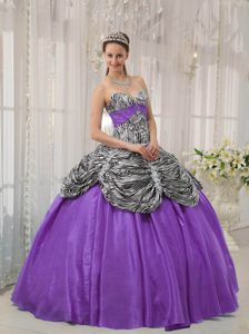 Lavender Sweetheart Ruffled Quinceanera Dress Made in Taffeta and Zebra