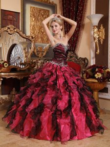Multi-Color Sweetheart Organza Quinceanera Dress with Beading and Ruffles