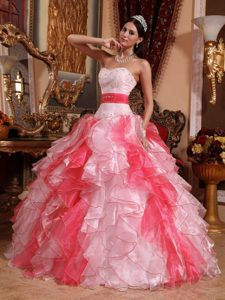 Multi-color Beaded Sweetheart Organza Quinceanera Dresses with Ruffles