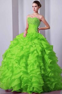Pretty A-line Green Organza Quinceanera Dress with Beading and Ruffles