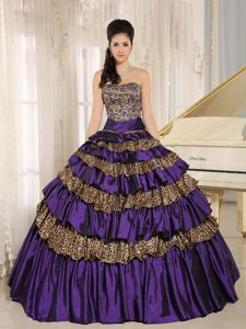 Dark Purple Leopard Ruffled Dress for Quince with Appliques and Beading