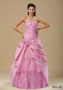 Pink Beaded and Ruched Dresses for Quinceanera with Hand Made Flowers