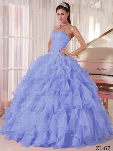 Hot Strapless Organza Quinceanera Dresses with Beading and Ruffled Layers