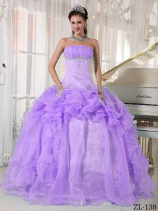 Pretty Lavender Strapless Organza Beaded Quinceanera Dresses with Ruffles
