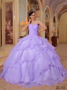 Lavender Sweetheart Organza Quinceanera Dress with Beading on Promotion
