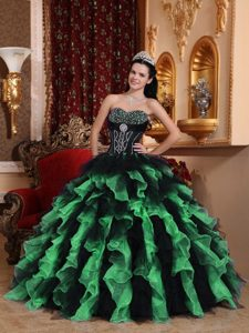 Exclusive Sweetheart Organza Beaded Quinceanera Dress with Ruffled Layers