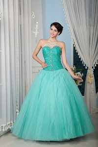 Discount Turquoise Princess Zipper-up Tulle Sweet 16 Dress with Beading