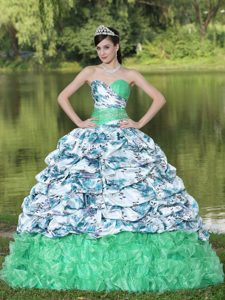 Wonderful Organza Brush Train Ruffled Quinceanera Gowns in Multi-color