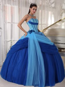 Low Price Tulle Blue Sweet Sixteen Quinceanera Dresses with Beading