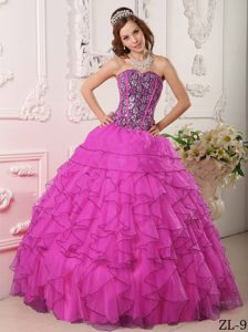 Chic Sweetheart Organza Beaded Quinceanera Dress for 2013 in Fuchsia