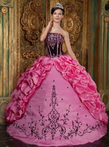Fitted Rose Pink Strapless Taffeta Quinceanera Dresses with Embroidery