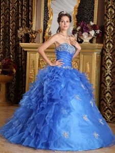 2015 Blue Organza Quinceanera Gown Dresses in Summer with Ruffles