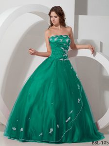 Strapless Beaded Taffeta and Tulle Lovely Sweet 16 Dress in Turquoise