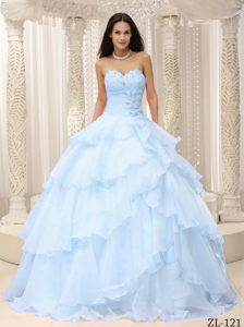 Ruched Sweetheart Cheap Quinceanera Dress in Organza in Light Blue