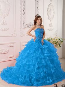 Strapless Floor-length Organza Lovely Sweet 16 Dress in Blue with Ruffles