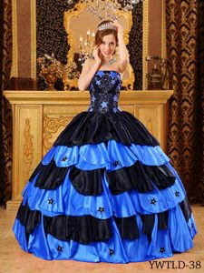 Inexpensive Black and Blue Strapless Beaded Sweet 15 Dresses in Taffeta