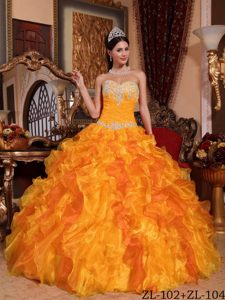 Sweetheart Floor-length Organza Low Price Quinceaneras Dress in Gold