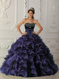 Ruffled Sweetheart Sweet Sixteen Dresses with Beadings in Purple and Black 2012