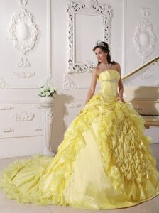 Yellow Strapless Sweet Sixteen Quince Dresses with Chapel Train and Pick-ups