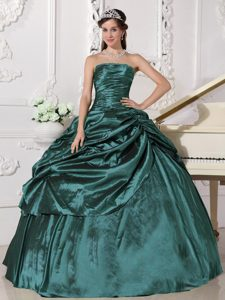 Bottom Price Ruffled Taffeta Dresses for Quinceanera with Beadings in Turquoise