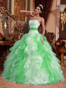 Multi-colored Ruffled and Beaded Dress for Quince in Organza with Sweetheart