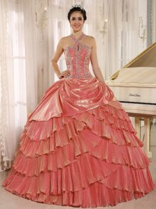 Halter-top Watermelon Sweet Sixteen Dresses with Beadings and Ruffled Layers