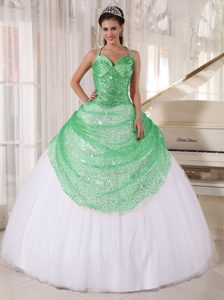 New Green and White Tulle Quinceanera Dress with Appliques and Sequins