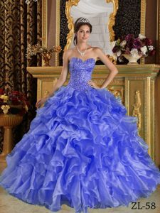 Sweet Purple Ball Gown Sweetheart Quince Dresses in Organza