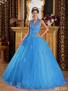 Blue Inexpensive Ball Gown Halter Quinceanera Dresses in Tulle