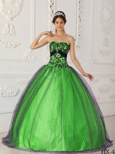 Black and Spring Green Low Price Quinceanera Dresses in Tulle