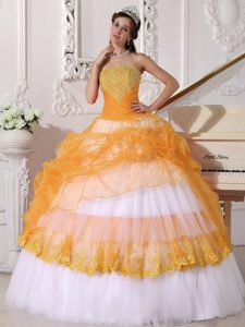 Cute Strapless Sweet Sixteen Quince Dresses in Orange and White