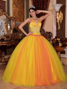 Ball Gown V-neck Discount Dress for Quinceanera in Taffeta and Tulle