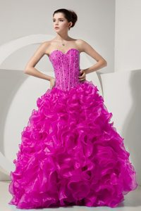 Organza Sweet Sixteen Dress with Sweetheart and Beading in Hot Pink